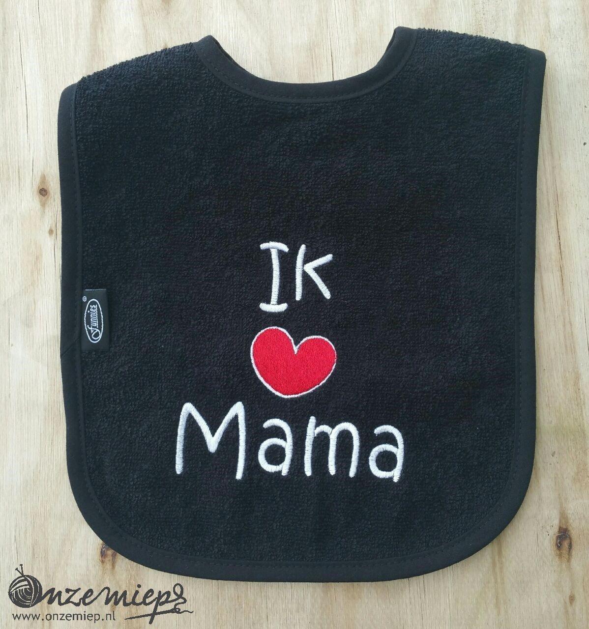 "Zwarte slab met ""Ik hou van mama"""