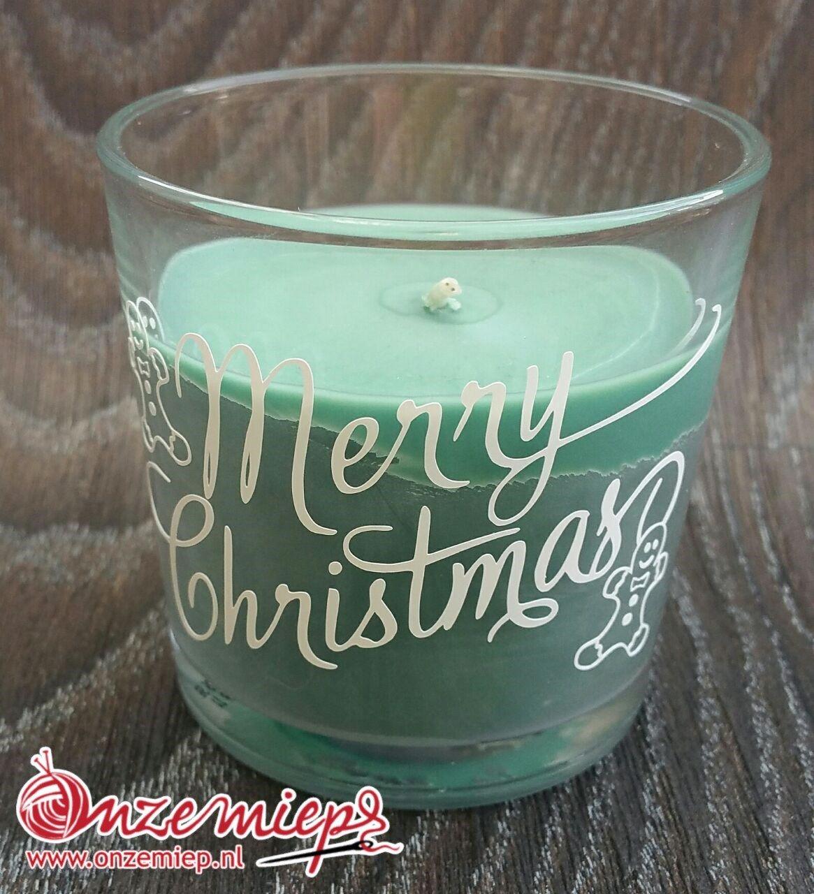 """Groene geurkaars met de tekst """"Merry Christmas"""""""