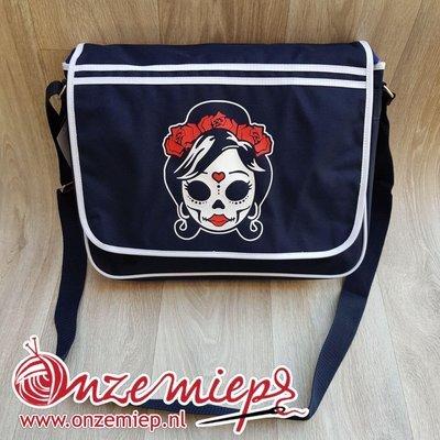 Stoere blauwe retro schoudertas met mexican girl skull