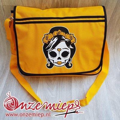 Stoere gele retro schoudertas met mexican girl skull