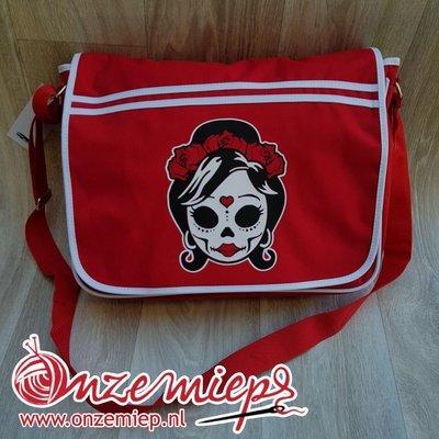 Stoere rode retro schoudertas met mexican girl skull