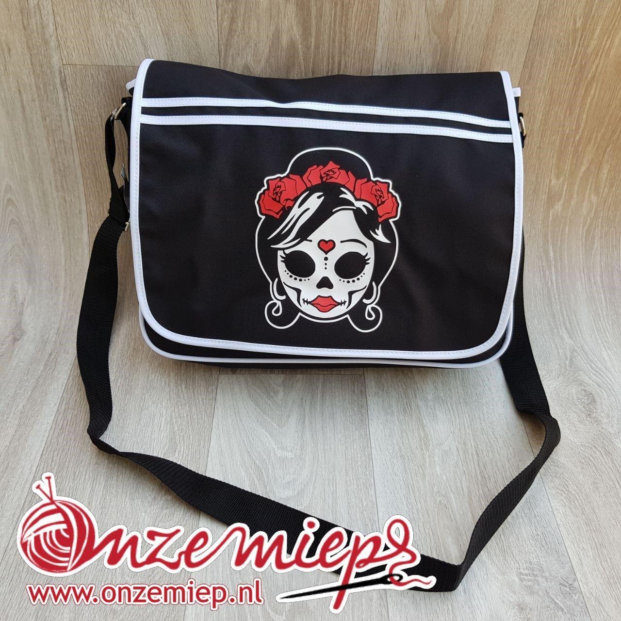 Stoere zwarte retro schoudertas met mexican girl skull
