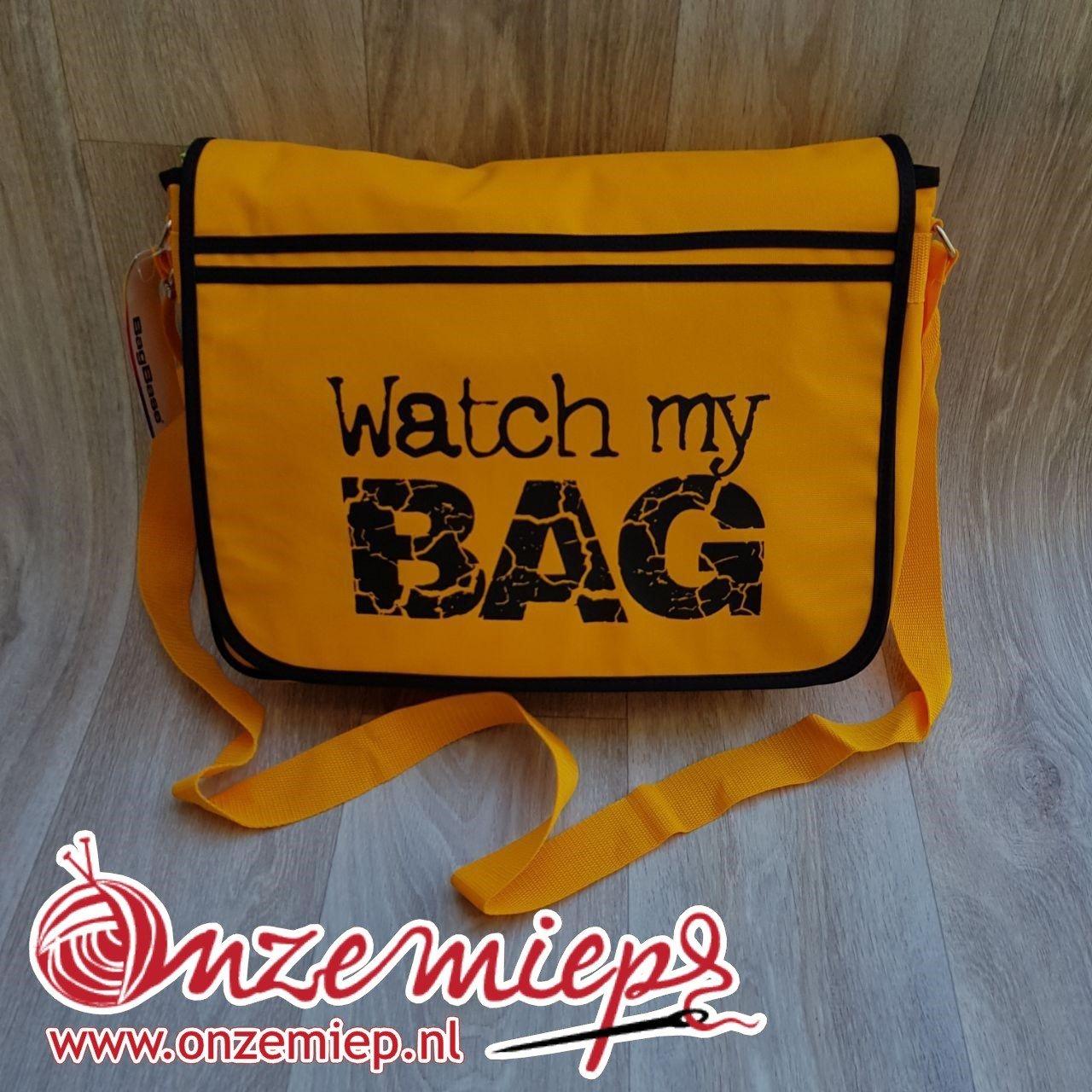 """Stoere gele retro schoudertas met """"Watch my bag"""""""