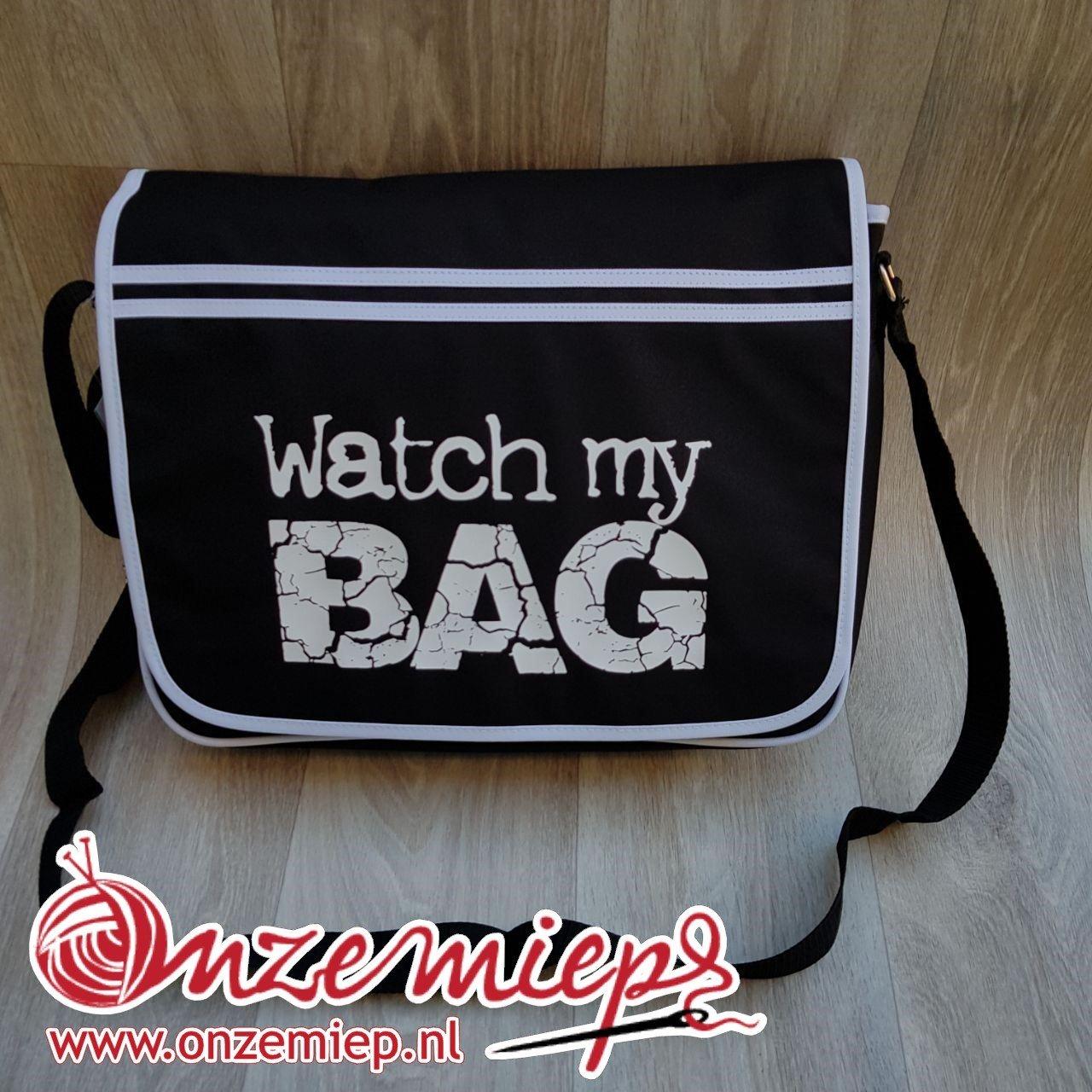 """Stoere zwarte retro schoudertas met """"Watch my bag"""""""