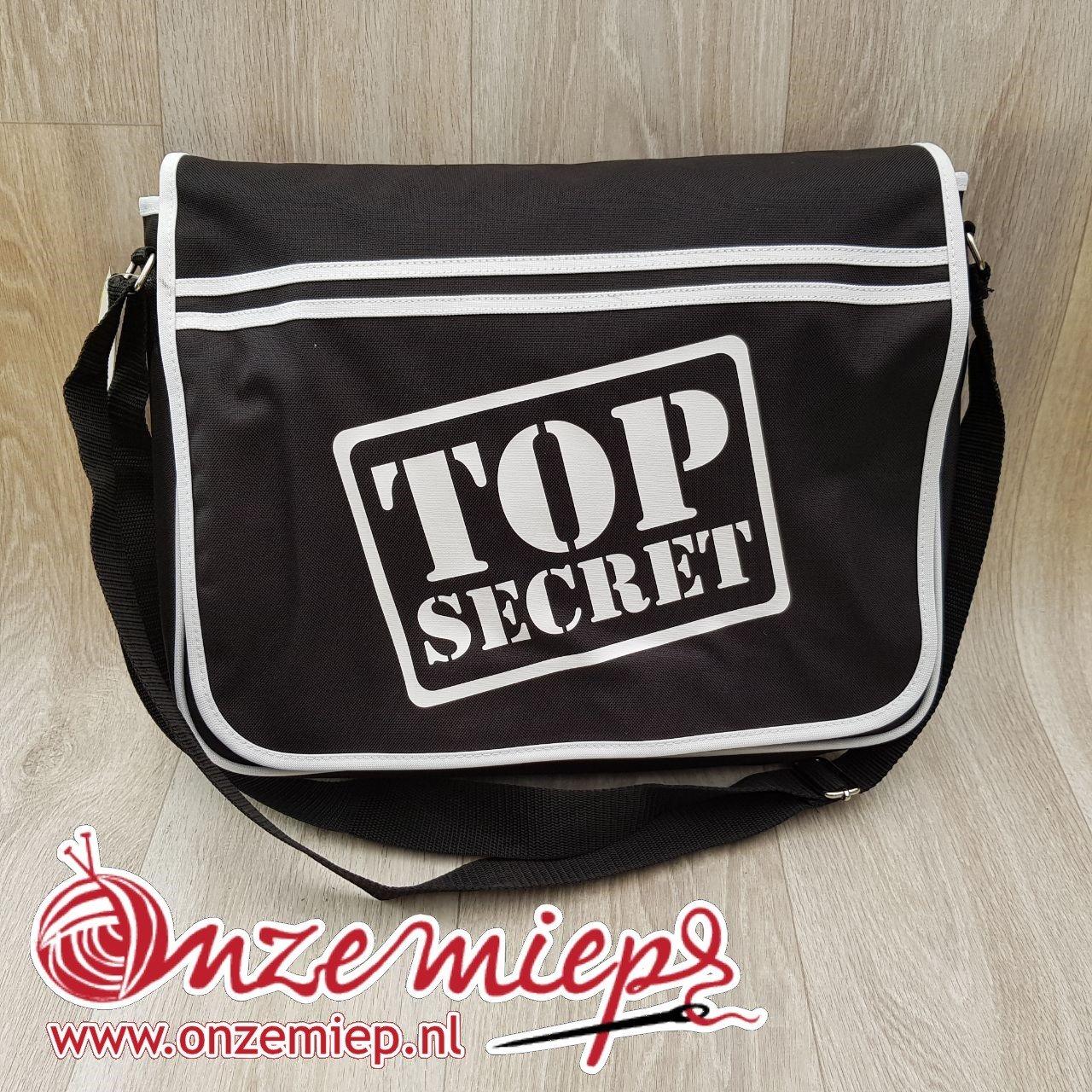 """Stoere zwarte retro schoudertas met """"Top secret"""""""