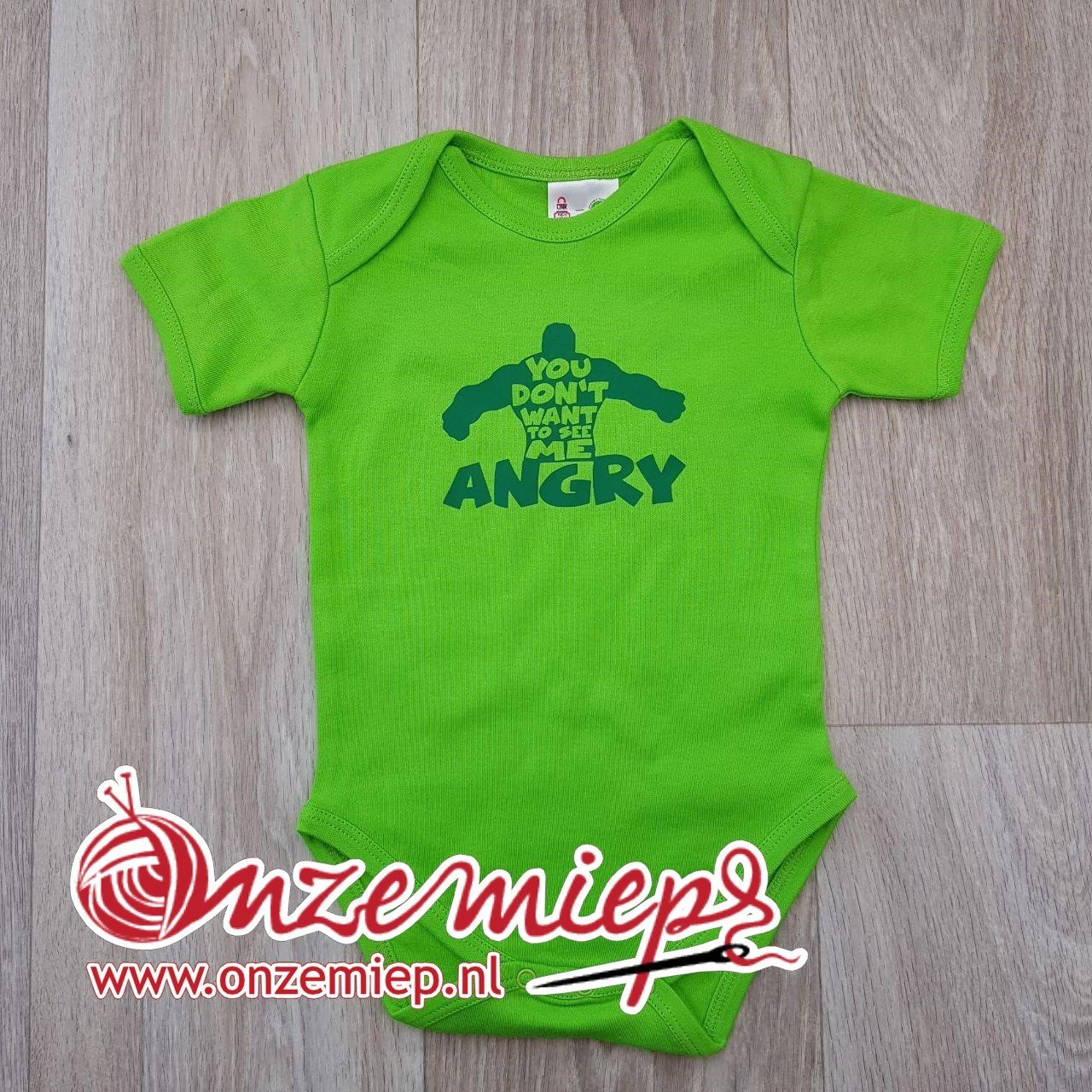 """Groene romper met """"You don't want to see me angry"""""""