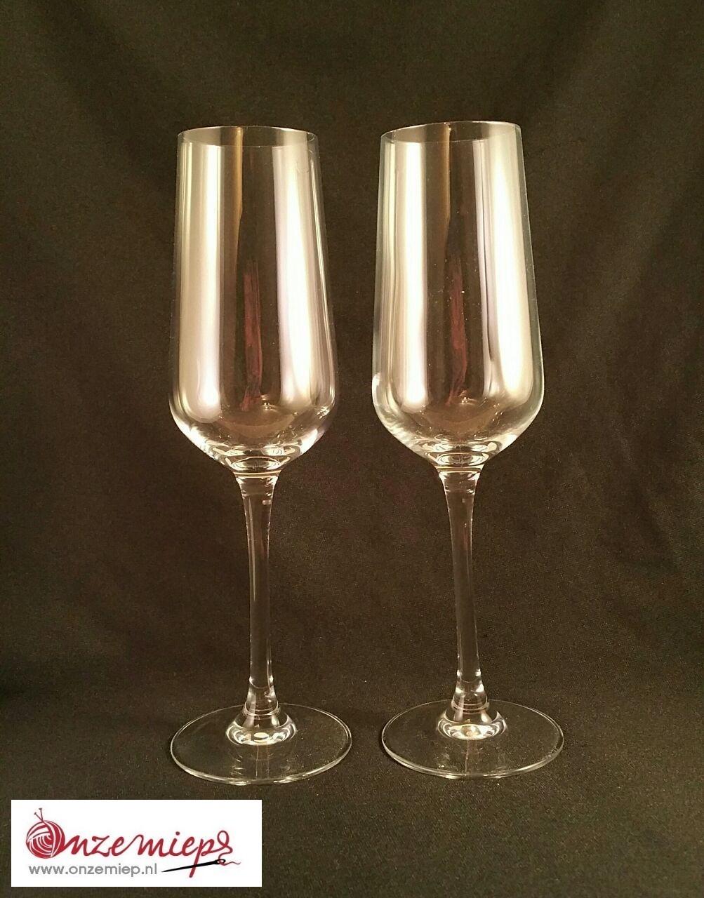 Champagne glas met persoonlijke tekst en/of afbeelding