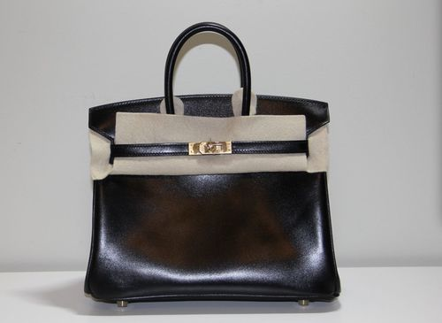 beba214a3795 25 cm Black Box Leather Hermès Birkin Handbag (2012)