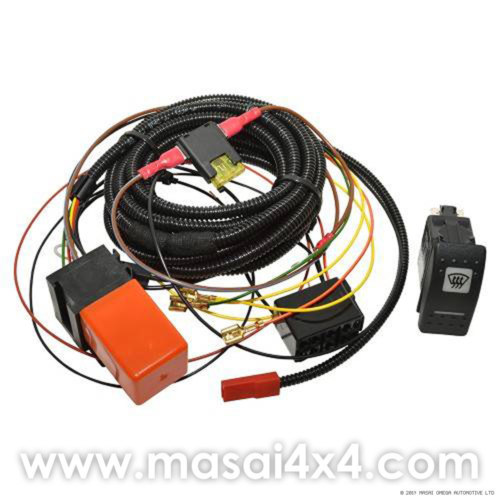 heated windscreen wiring kit with switch for land rover. Black Bedroom Furniture Sets. Home Design Ideas