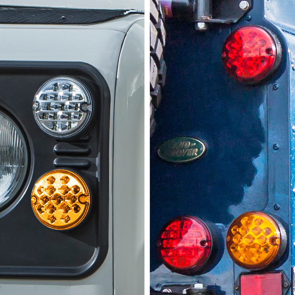 Coloured Lenses - Front NS and Rear OS - NAS style LED Lights Upgrade Kit for Land Rover Defender