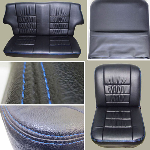 Classic Mini Replacement Seat Covers, Black with Blue Stitching, front and rear MINI-SC-BB