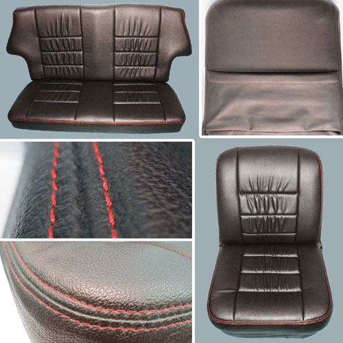 Classic Mini Replacement Seat Covers Black With Red