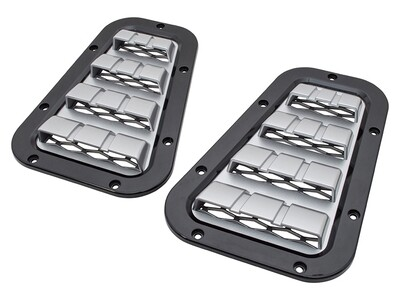 XS Style Bonnet Vent Set - (Black with Silver Mesh/ Silver with Black Mesh)