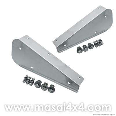 Rear Stainless Steel Mudflap Brackets (Pair) for Defender 90