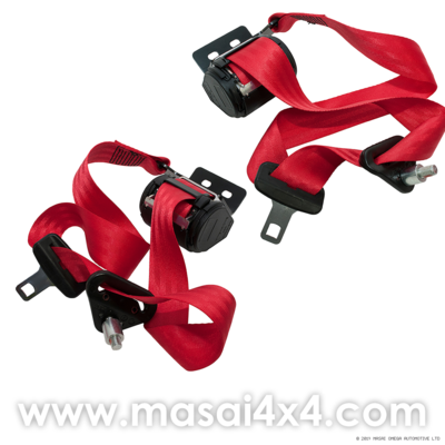 Front Seat Belt Set for Defender Truck Cab (Red)