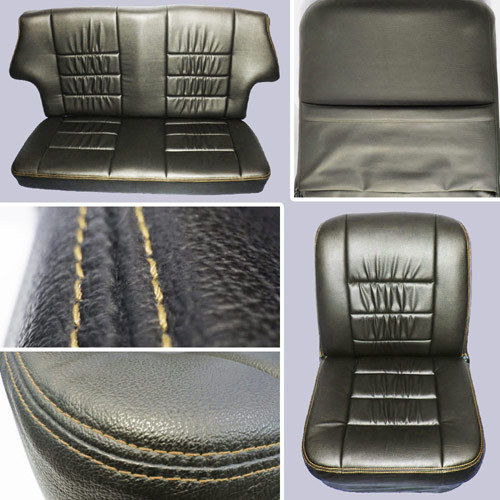 Classic Mini Replacement Seat Covers, Black with Cream Stitching, front and rear MINI-SC-BC