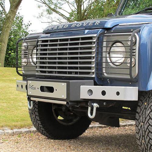 "Masai ""Warrior"" - Front Winch Bumper for Land Rover Defender (Silver & Black) Masai-3PCWB"
