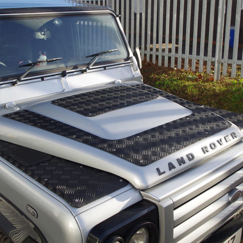 2 piece 3mm aluminium chequer plate kit for land rover defender puma bonnets chequer plate. Black Bedroom Furniture Sets. Home Design Ideas