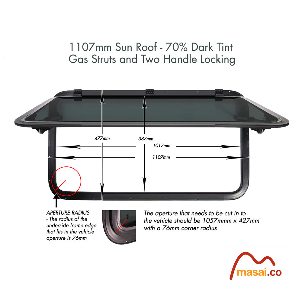 Sunroof - 1107 x 477 mm - DARK tint DEF1107x477-SR