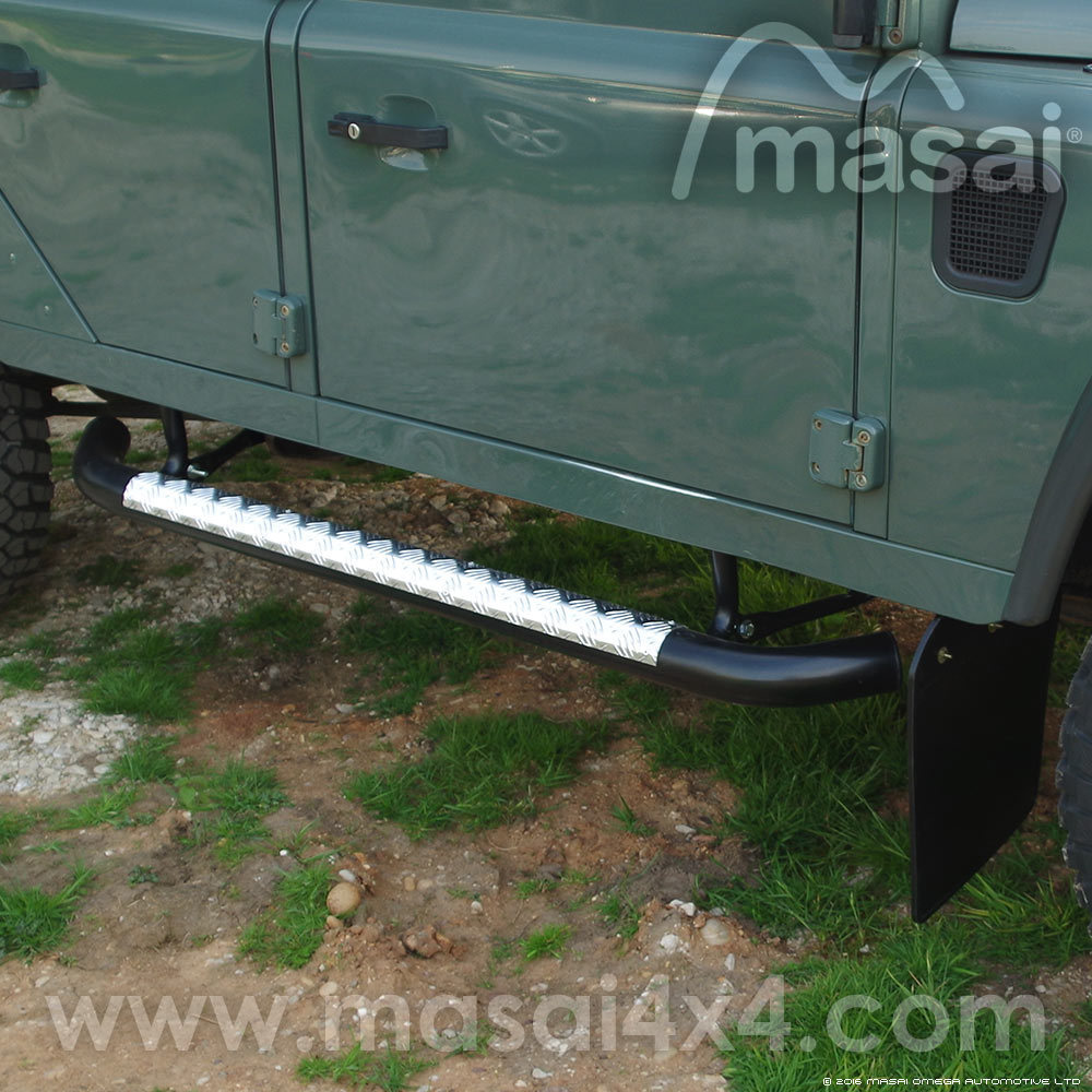 Masai style Tubular Side Steps for Land Rover Defender