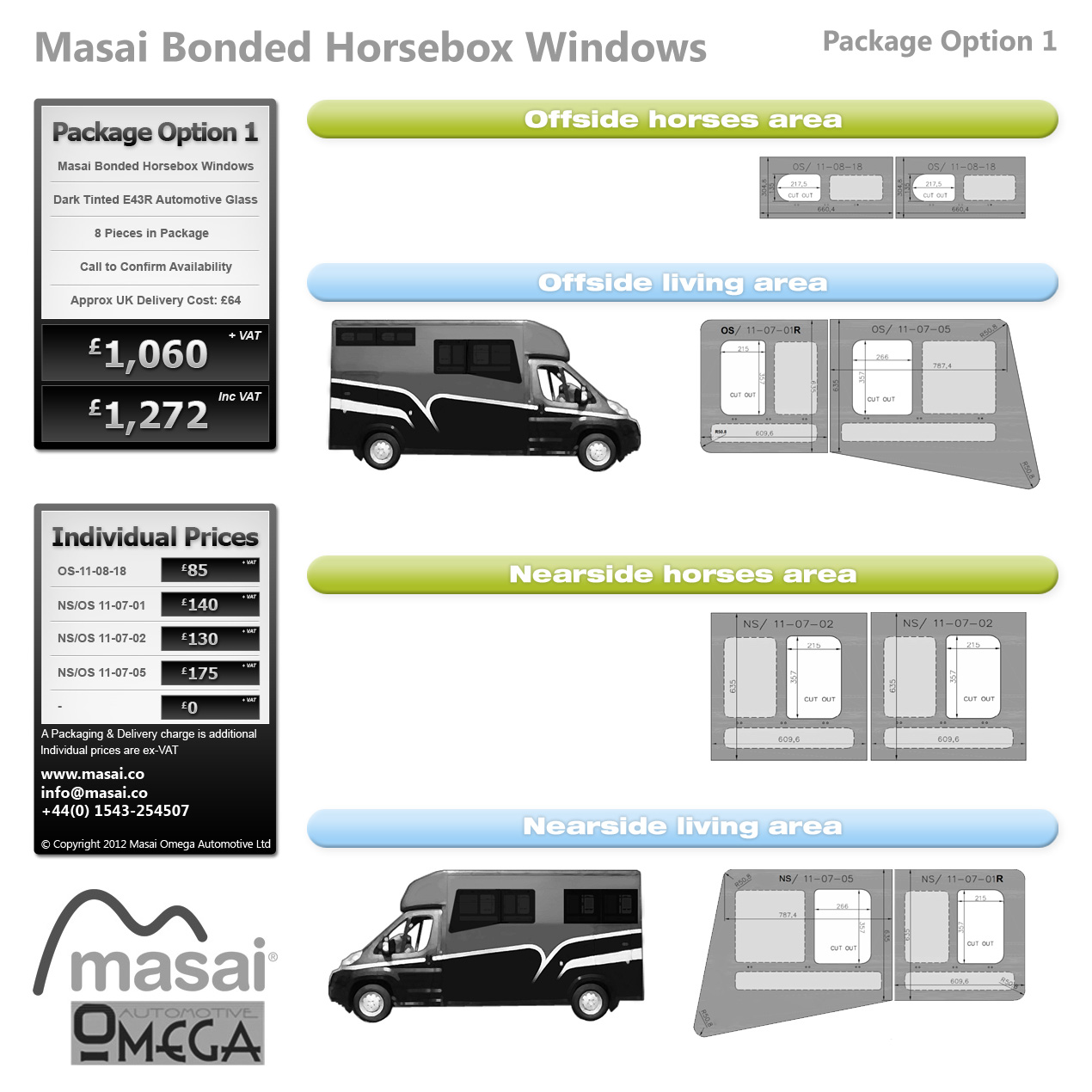 Option 1 Package Tinted Bonded Horsebox Windows Bonded