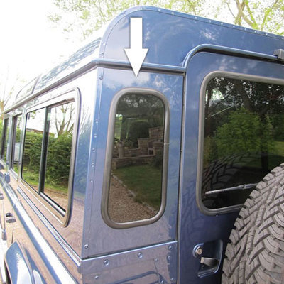 Dark-Tinted Rear Quarter Glass Windows for Land Rover Defender 90 and 110 (Oval Shape)