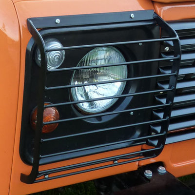 Front Lamp Guards, pair, for Land Rover Defender (Hinged Style)