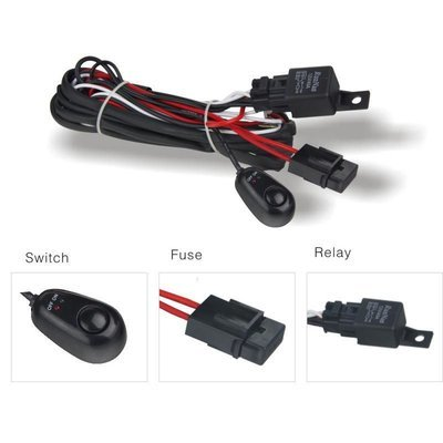Vehicle Lighting Wiring Kit - With relay, fuse and switch