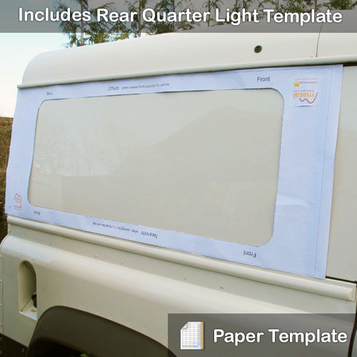 Paper Template - To Fit Rear Side Windows & Rear Quarter Glass Windows for Defender Hard Tops LRD-SWT