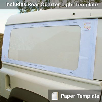 Paper Template - To Fit Rear Side Windows & Rear Quarter Glass Windows for Defender Hard Tops