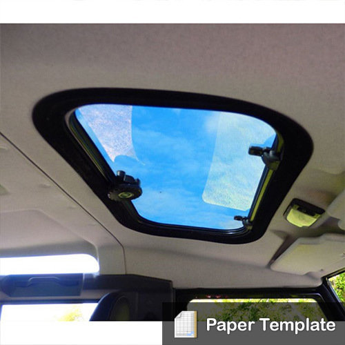 Paper Template - To cut out Standard (LR) Sunroof for Land Rover Defender LRD-SUNRT