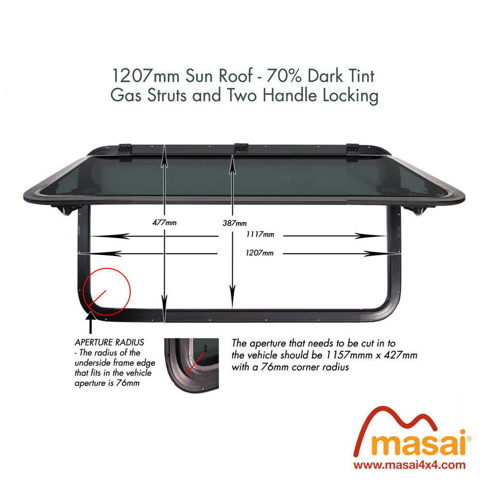 Sunroof - 1207 x 477 mm - DARK tint DEF1207x477-SR