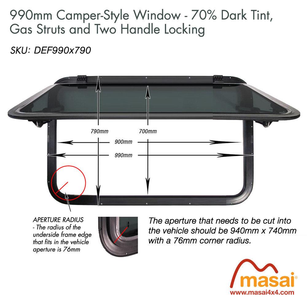 Sunroof - 990 x 790mm - DARK tint (Special Order) DEF990x790-SR