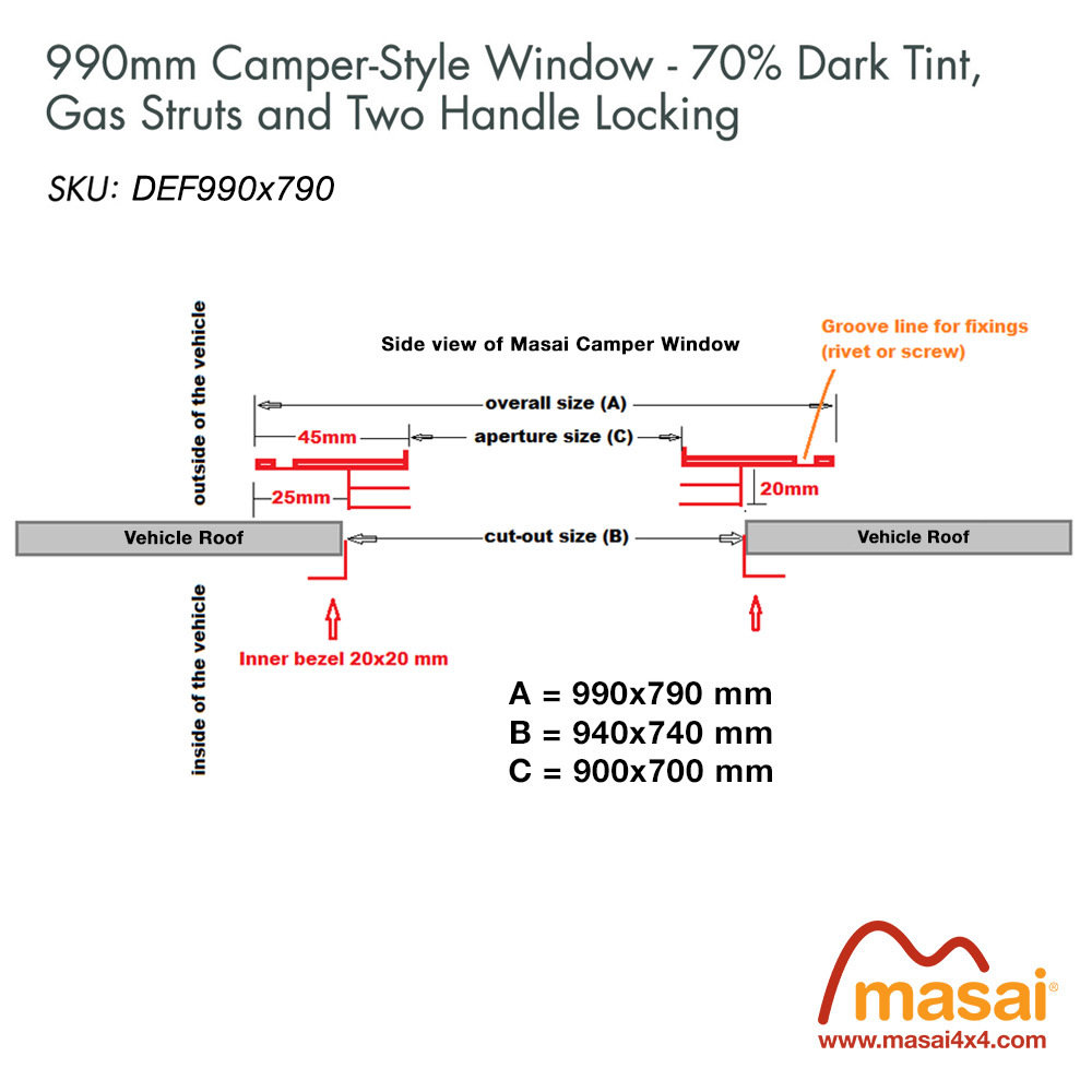 Sunroof - 990 x 790mm - DARK tint (Special Order)