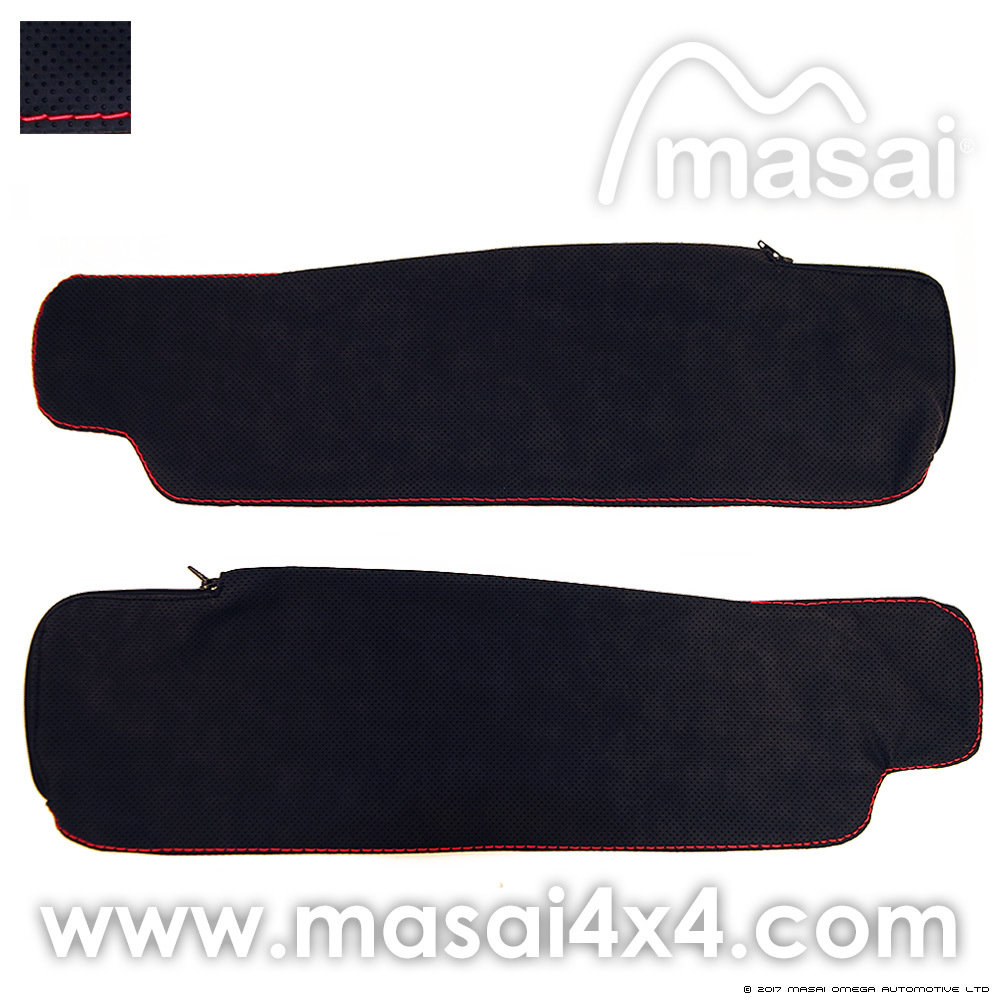 Sun Visor Cover - Leatherette with Red Stitch