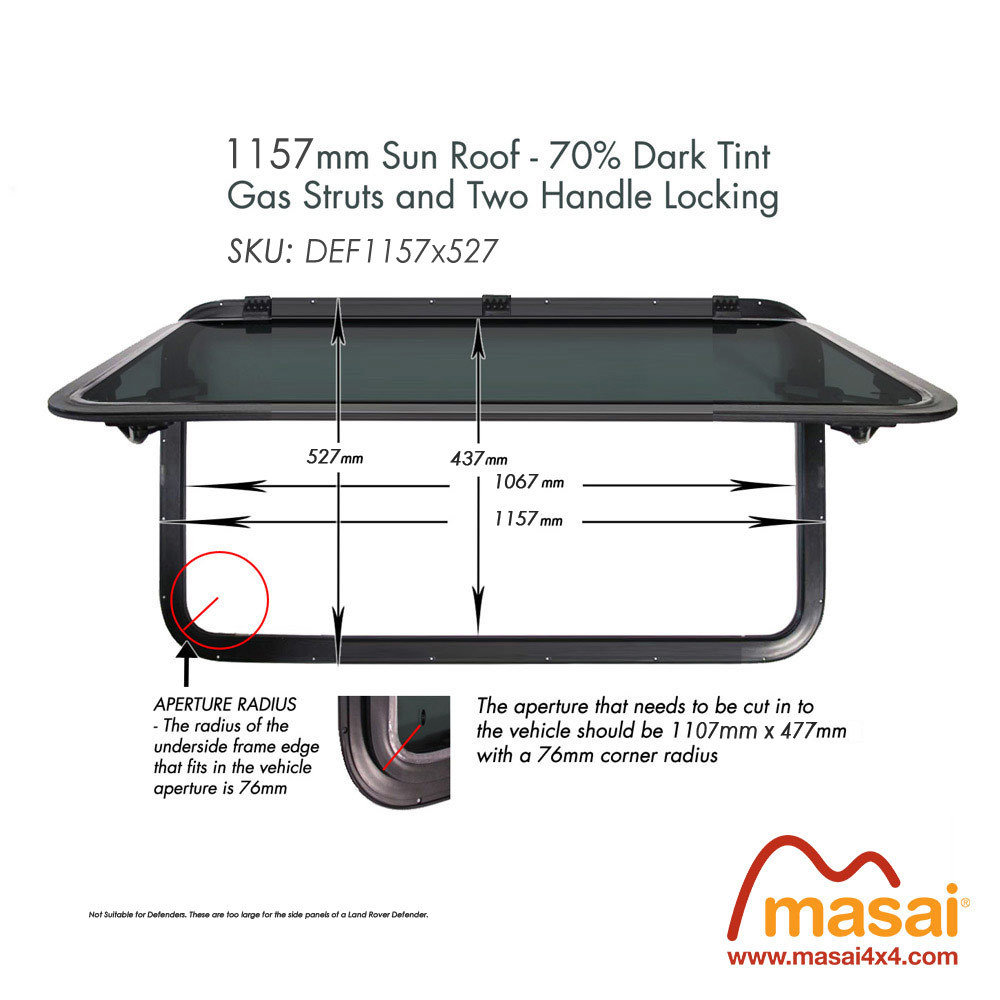 Sunroof - 1157 x 527mm - Dark Tint DEF1157x527
