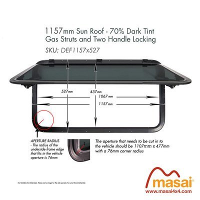Sunroof - 1157 x 527mm - DARK Tint (Special Order)