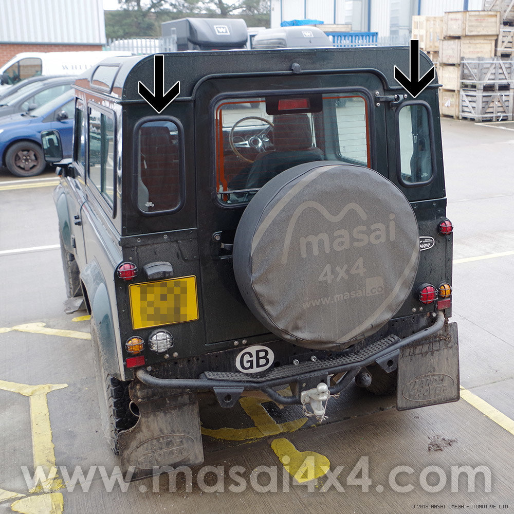 Rear Quarter Glass Windows - Green-Tinted for Land Rover Defender 90 and 110 (Oval Shape)