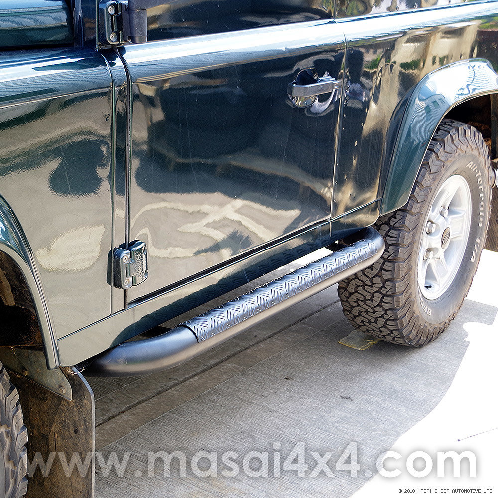 Tubular Side Steps - Tomb Raider Style for Defender 90 (Black/Stainless) MA7012-90