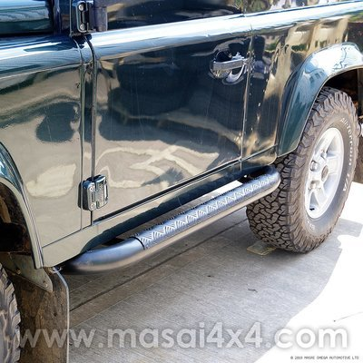Tubular Side Steps - Tomb Raider Style for Defender 90 (Black/Stainless)