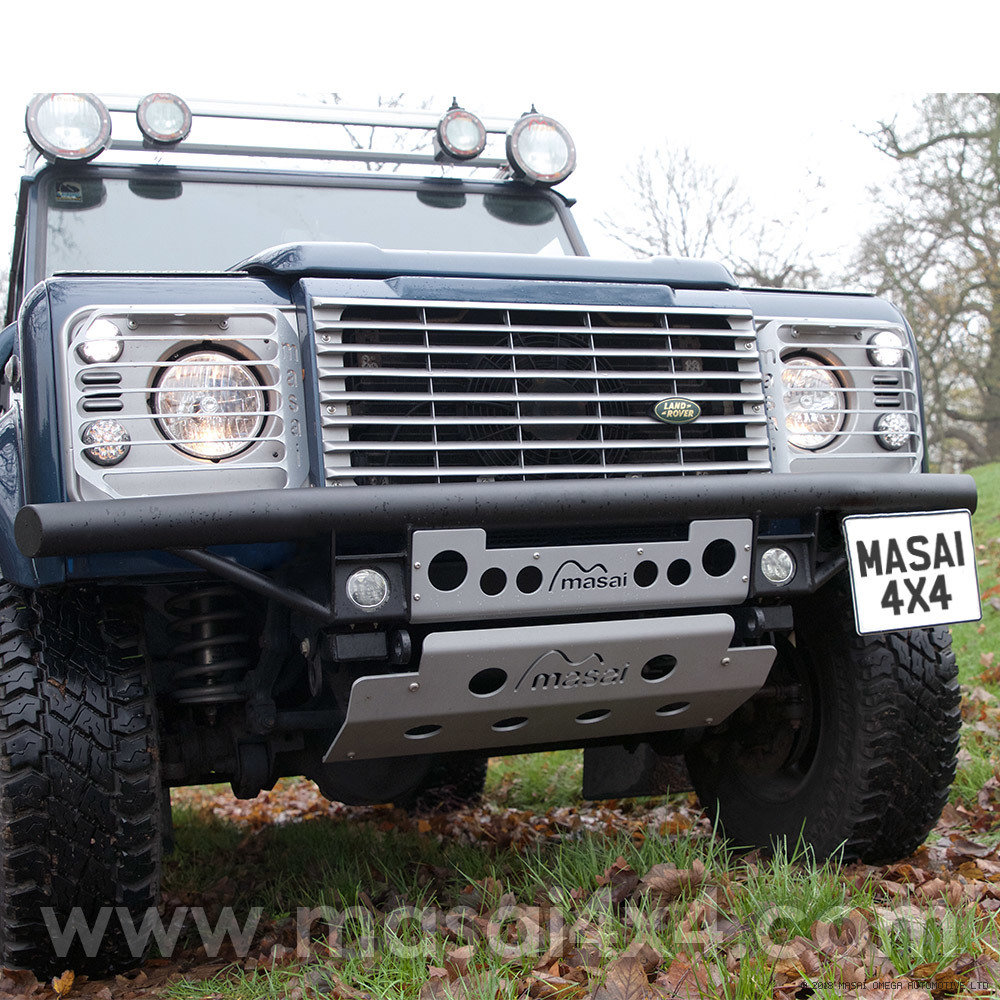 Tubular Bumper with LED DLR's for Land Rover Defender 90 / 110 (Masai Style) Masai-TBump-LED