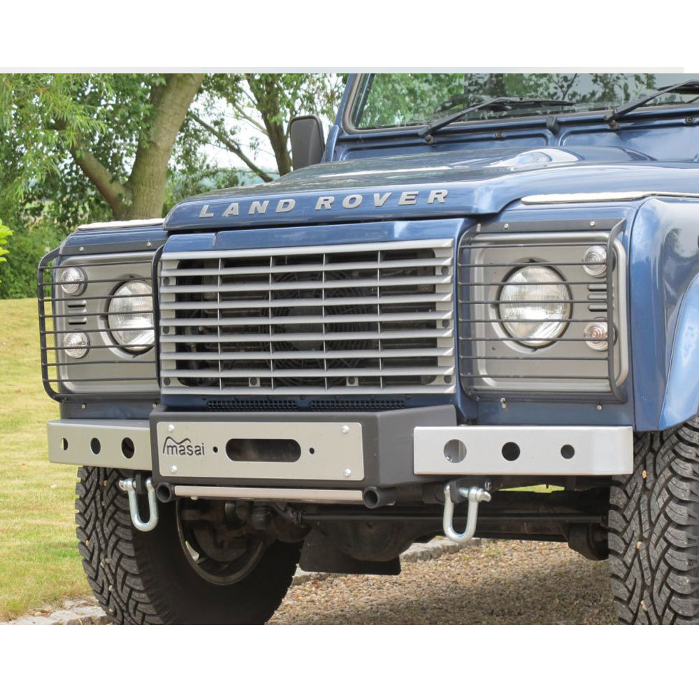 "Masai ""Warrior"" - Front Winch Bumper for Land Rover Defender (Silver & Black)"