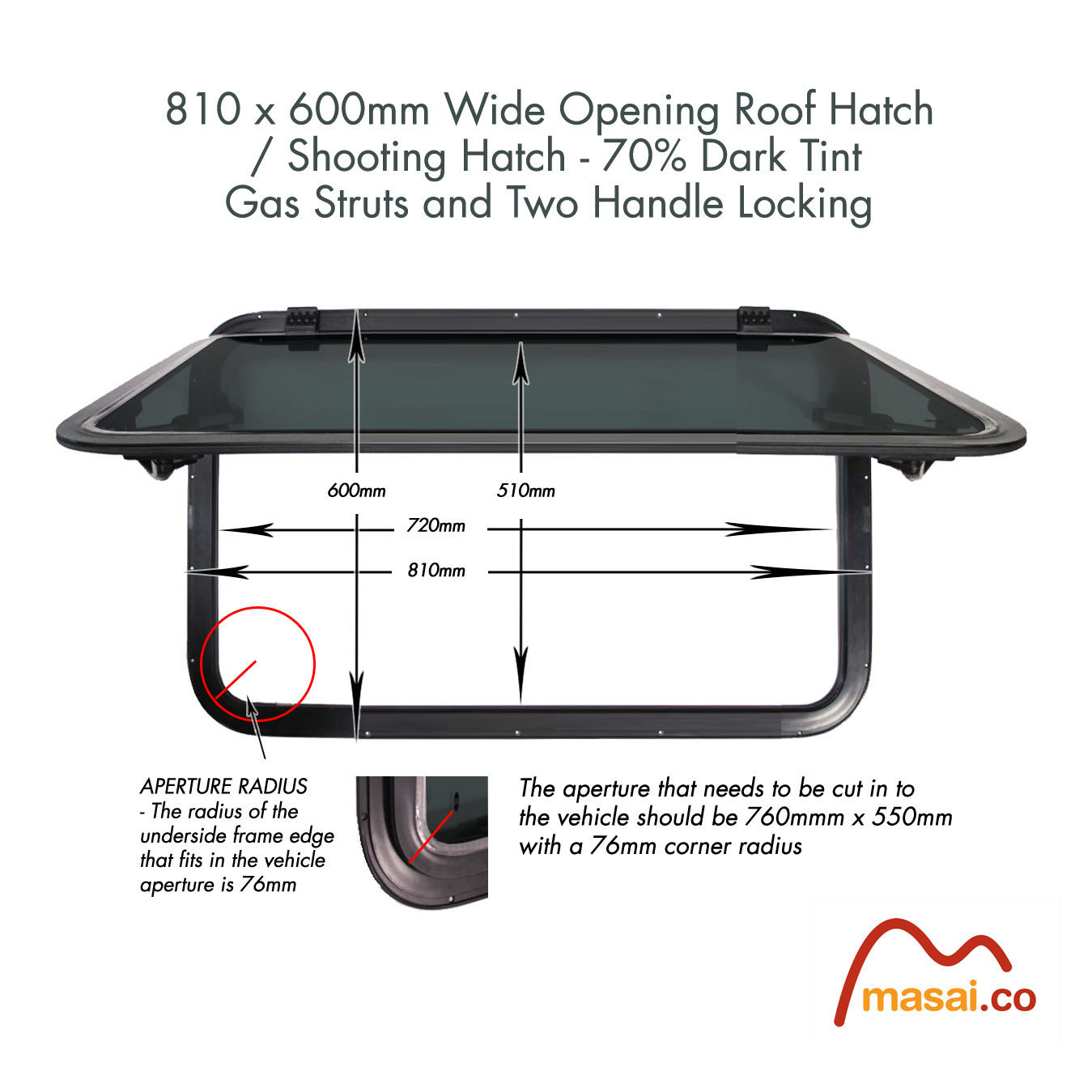 Wide Opening Roof Window / Shooting Hatch / Deck Hatch - 810 x 600 mm