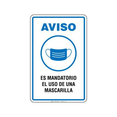 Rótulo Aviso - USO DE MASCARILLA