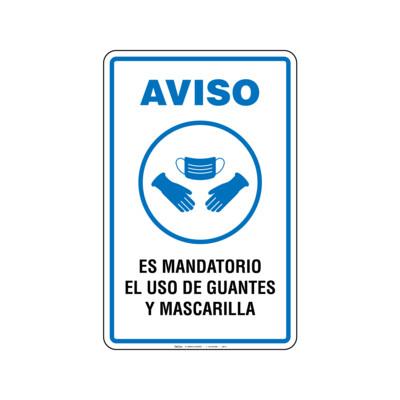 Rótulo Aviso - USO DE GUANTES Y MASCARILLA