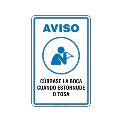 Rótulo Aviso - CÚBRASE LA BOCA