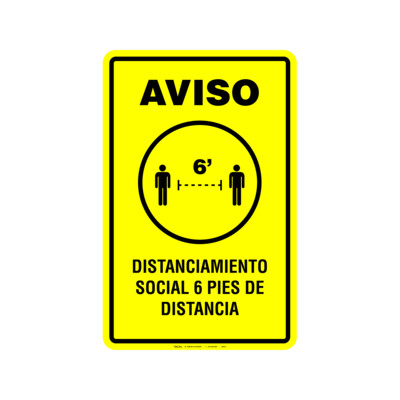 Rótulo Aviso - DISTANCIAMIENTO SOCIAL