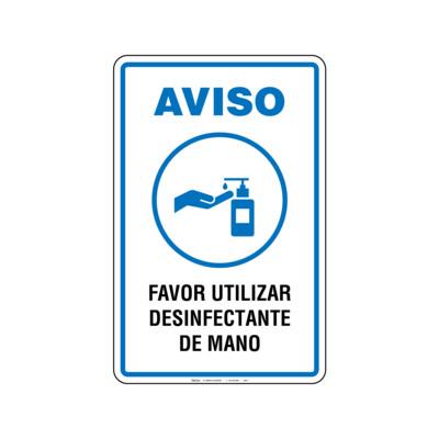 Rótulo Aviso - UTILIZAR DESINFECTANTE DE MANO
