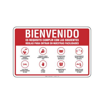 Rótulo - BIENVENIDOS (REGLAS PARA ENTRAR)