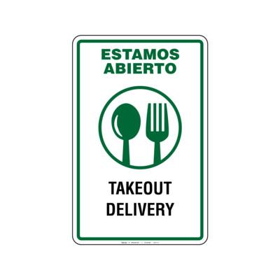 Rótulo Estamos Abierto -Takeout & Delivery